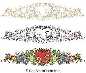Set of renaissance crowned heart borders