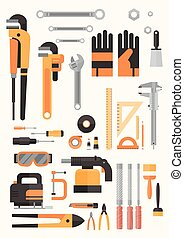Set Of Repair And Construction Working Hand Tools, Equipment Collection