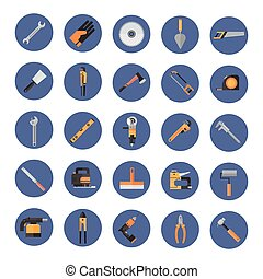 Set Of Repair And Construction Working Hand Tools, Equipment Collection Icons