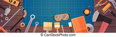 Set Of Repair And Construction Working Hand Tools, Equipment Collection Over Copy Space