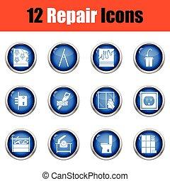 Set of repair icons. Flat design tennis icon set in ui colors. Vector illustration
