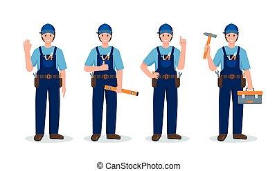 Set of Repair men in different poses and gestures.