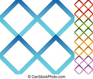 Set of repeatable square patterns in 5 distinct colors