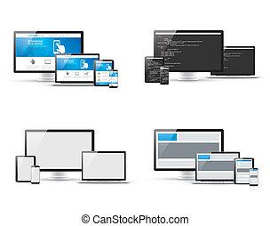 Set of responsive web design and website coding development