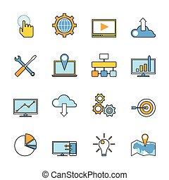 Responsive web technology blueprint cloud illustration vectors set of responsive web development line icons flat style design web programming process and malvernweather Choice Image