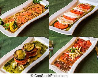 set of restaurant disges