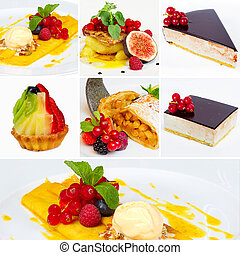 Set of restaurant dishes or Collage of restaurant dishes...