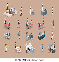 Set of Restaurant Icons in Isometric Projection