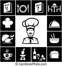 Set of restaurant icons in white on black