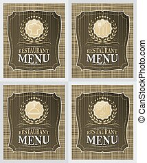 Set of restaurant menu cover design in vintage style