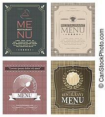 Set of restaurant menu template in vintage style