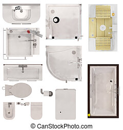 Restroom Fixtures - Set of Restroom Fixtures Top View...