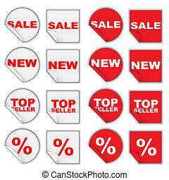 Set of Retail Tags - Sale, New, Top Seller and Percentage /...