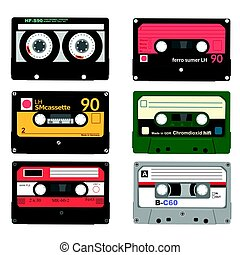 Set of retro audio cassettes. Tape and audio, music and sound, media and record