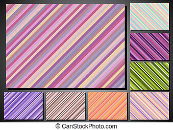 set of retro backgrounds in color stripes