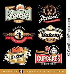 Set of retro bakery shop design elements. Vector badges,...