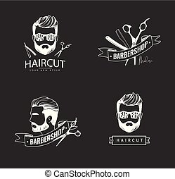 Set of retro barber shop emblems.