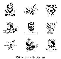 Set of retro barber shop emblems.