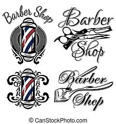 Set of retro barber shop logo. Isolated on the white...
