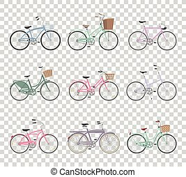 Set of retro bicycles on transparent background