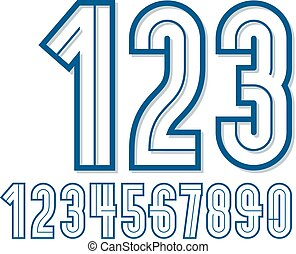 Set of retro bold rounded vector numbers can be used for logo creation.