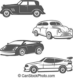 Set of retro cars icons isolated on white background.