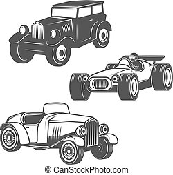 Set of retro cars icons isolated on white background. Vector des