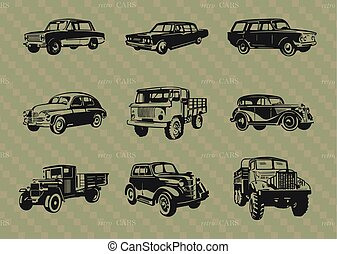 Set of retro cars..eps