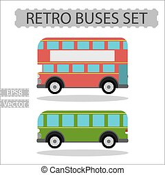 Set of retro city buses on a white background
