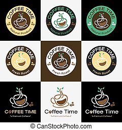 Set of retro coffee badge label logo design