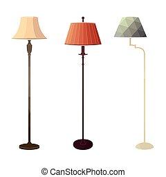 Set of retro colored floor lamps