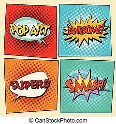 Set of retro comic bubbles pop art phrases