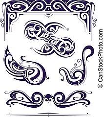 Set of retro elements in Art Nouveau style