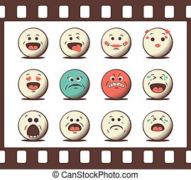 Set of retro emoji emoticons