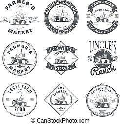 Set of retro farm fresh labels, badges and design elements. Vector