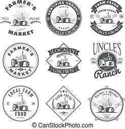 Set of retro farm fresh labels, badges and design elements. Vector