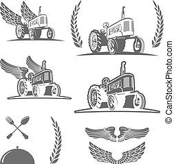 Set of retro farm tractor design, badges and design elements. Vector