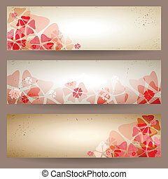 Set of retro floral banners