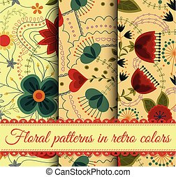 Set of retro floral patterns