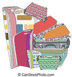 Set of retro funky suitcases