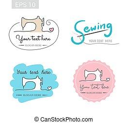 Set of retro garment sewing machine identity badge sticker...
