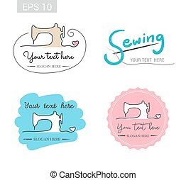 Set of retro garment sewing machine identity badge sticker label for tailor made shop
