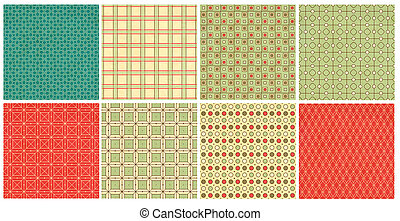 Set of retro geometric ornamental pattern