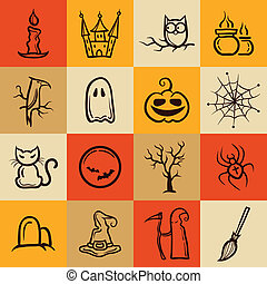 Set of retro graphical Halloween icons - Set of vector retro...