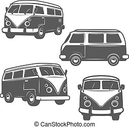 Set of retro hippie buses isolated on white background. Design e