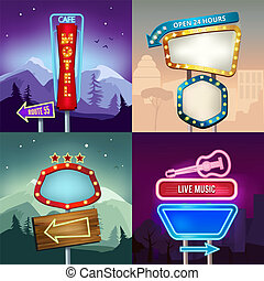 Set of retro illustrations of landscape with lighting neon banners for advertise. Board for motel and shop