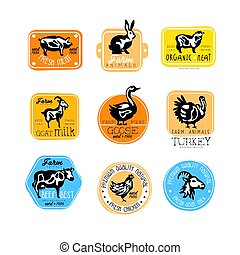 Set of retro labels for dairy and natural meat products. Butcher shop logos. Vector badges with silhouettes of farm animals. Goat milk, fresh pork, beef, rabbit, chicken, turkey