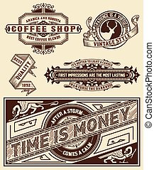 Set of retro labels. Vector