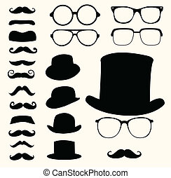 Set of retro mustaches hats glasses