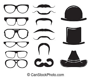 Set of retro mustaches hats glasses